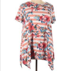 1X Ladies Striped Floral Casual Soft Tencil Top
